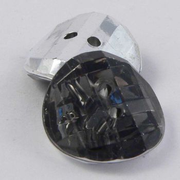 15mm Smoke Faceted Round 2 Hole Convex Button