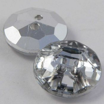 13mm Clear Faceted Round 2 Hole Button