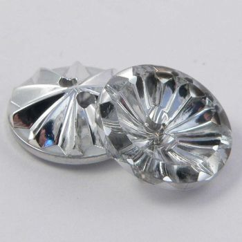 15mm Clear/Silver Flower 2 Hole Button
