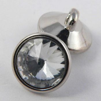 11mm Clear Pyramid Faceted Silver Rimmed Shank Button
