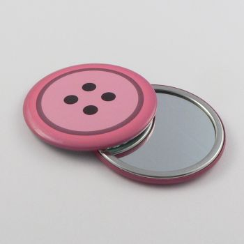 75mm Pink Vanity Mirror In The Design Of A 4 Hole Button