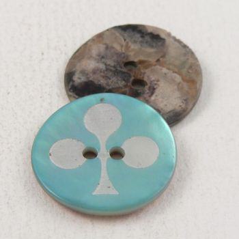 18mm Turquoise Agoya Shell Clover Leaf Design 2 Hole Button