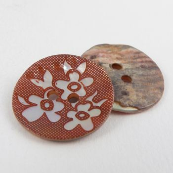 20mm Bronze Agoya Shell Floral 2 Hole Button