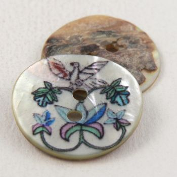 20mm White Leaves & Bird Agoya Shell 2 Hole Button