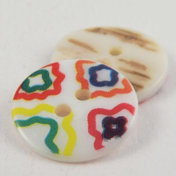 17mm Multicoloured Abstract River Shell 2 Hole Button