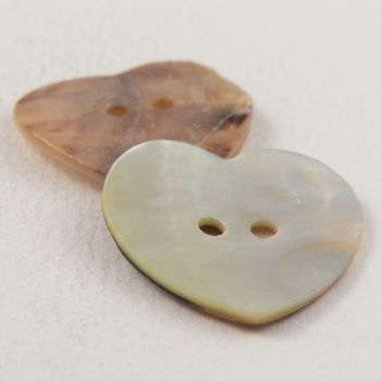 22mm Natural Agoya Shell Heart 2 Hole Button