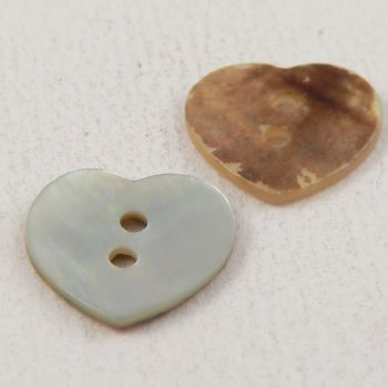 15mm Natural Agoya Shell Heart 2 Hole Button