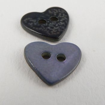 12mm Bluey-Lilac Heart Shell 2 Hole Button
