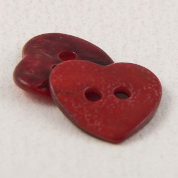 15mm Red Heart Shell 2 Hole Button