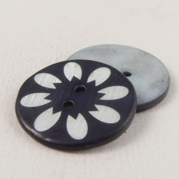 25mm Navy/White Floral River Shell 2 Hole Button