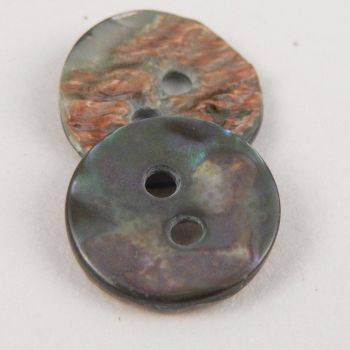 15mm Smoke Abalone Round Shell 2 Hole Button