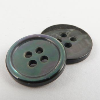 10mm MOP Smoke Shell 4 Hole Button With Rim