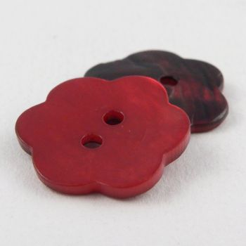 12mm Red Flower Agoya Shell 2 Hole Button
