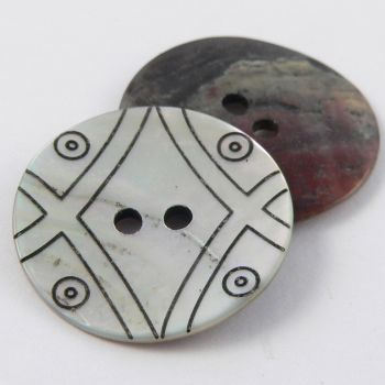 23mm Natural Agoya Shell Patterned 2 Hole Button