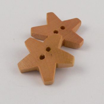 25mm Star Shaped Wood 2 Hole Button