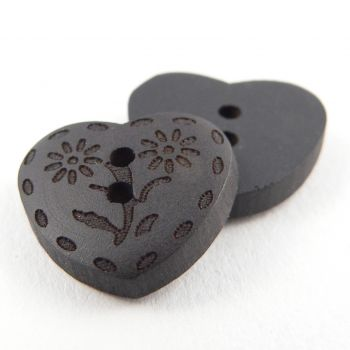 17mm Heart 2 Hole Dark Wooden Button With Flowers