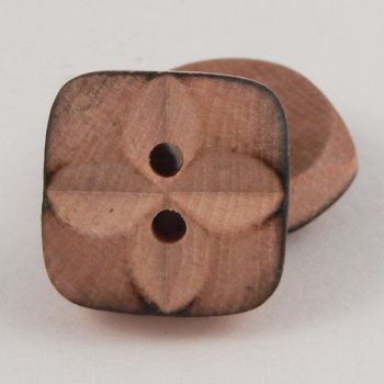 16mm 2 Hole Wooden Button With Cross