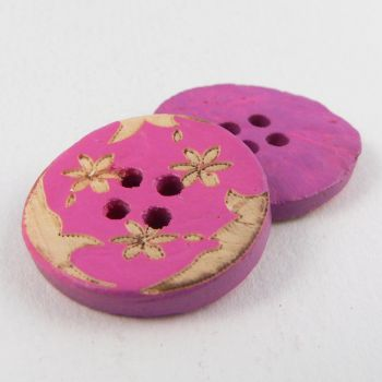 20mm Pink Coconut Flower 4 Hole Button
