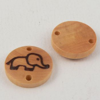 15mm Wooden Elephant 2 Hole Embellishment Button