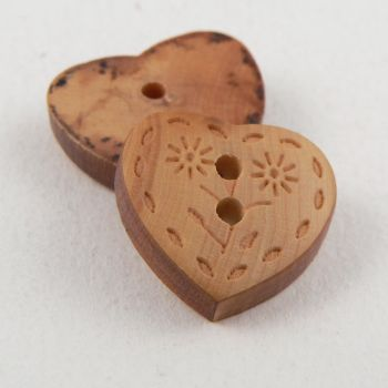 8mm Wood 2 Hole Heart Button with Flowers