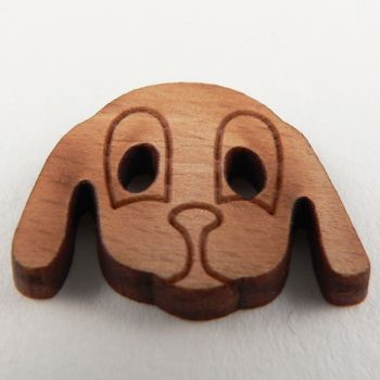 27mm Dogs Face 2 Hole Wood Button