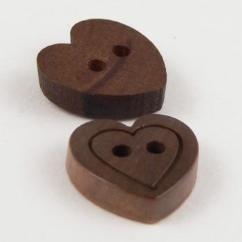 13mm Dark Wooden 2 Hole Heart Button With Engraved Heart