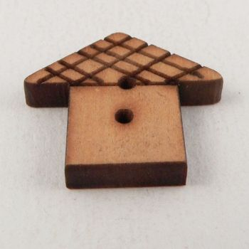22mm Wooden House 2 Hole Button