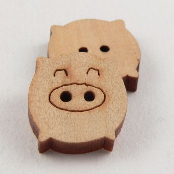 17mm Wooden Animal Pig 2 Hole Button