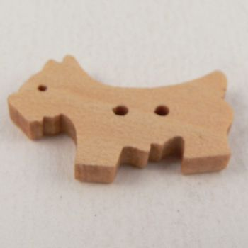 25mm Wooden Animal Dog 2 Hole Button