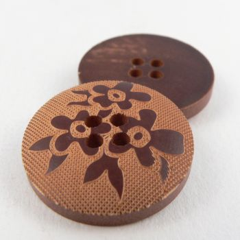 24mm Flower Engraved Wood 4 Hole Button