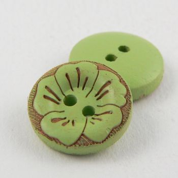 15mm Round Pistachio Green Wood Flower 2 Hole Button