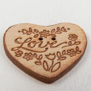 34mm Wooden Floral Heart 'LOVE' 2 Hole Button