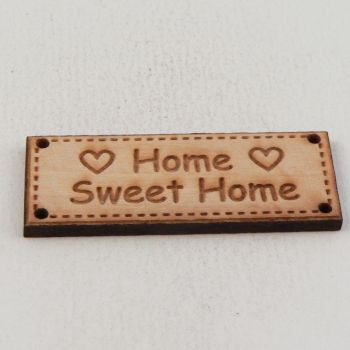 42mm Wooden 'Home Sweet Home' Tag 4 Hole Button