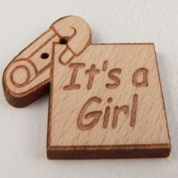 28mm Wooden 'Its A Girl' Tag 2 Hole Button