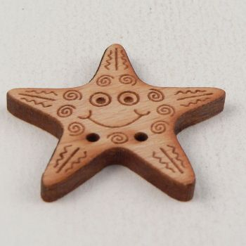 30mm Wooden Smiling Starfish 2 Hole Button