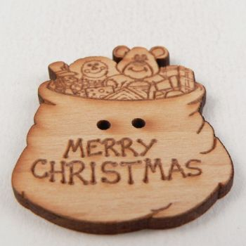 31mm Wooden Christmas Stocking 2 Hole Button