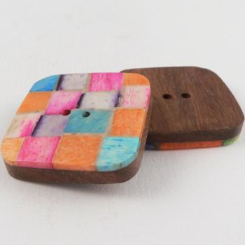 30mm Coloured Bone Chip Handcrafted 2 Hole Button