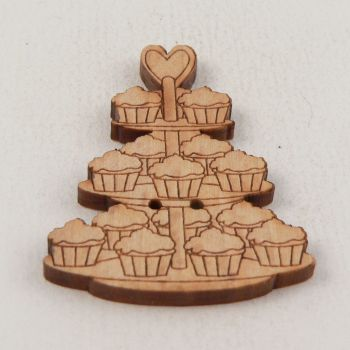 30mm Wooden Cup Cake Tree 2 Hole Button