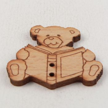31mm Wooden Teddy Bear Reading A Book 2 Hole Button