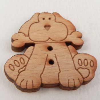 28mm Wooden Dog And His Bone 2 Hole Button