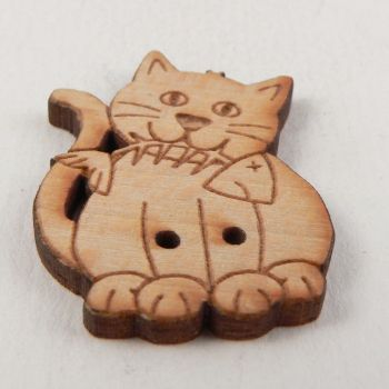 22mm Wooden Cat And Fish Bone 2 Hole Button