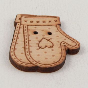 25mm Wooden Patchwork Mittens 2 Hole Button