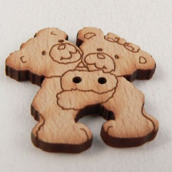 29mm Wooden Hugging Mr & Mrs Teddy Bear 2 Hole Button