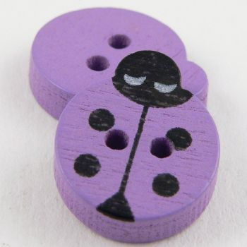 14mm Lilac Ladybird 2 Hole Wood Button