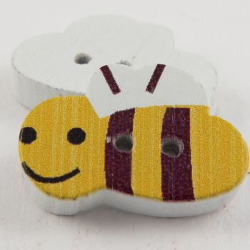 20mm Yellow Bumble Bee 2 Hole Wood Button