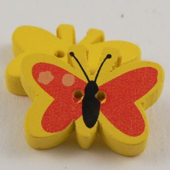 22mm Yellow Butterfly 2 Hole Wood Button