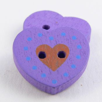 17mm Purple Heart 2 Hole Wood Button