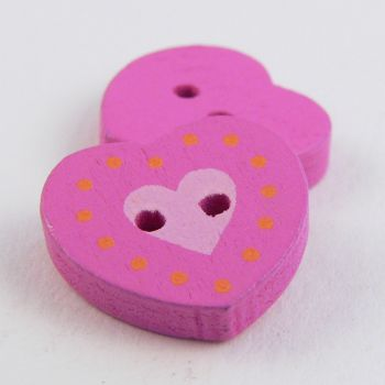 17mm Pink Heart 2 Hole Wood Button