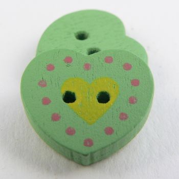 17mm Green Heart 2 Hole Wood Button