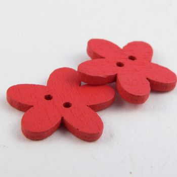 15mm Red Flower 2 Hole Wood Button